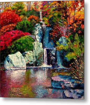 Japanese Waterfall Metal Print by John Lautermilch