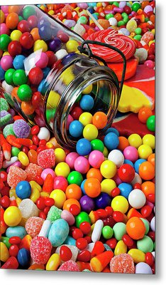 Jar Spilling Bubblegum With Candy Metal Print by Garry Gay