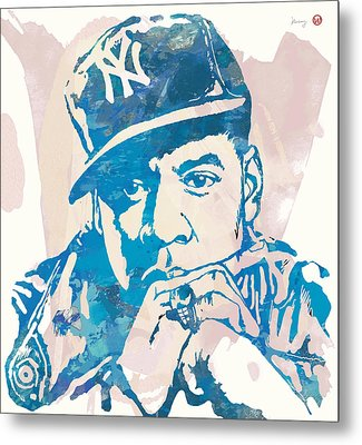 Jay-z  Etching Pop Art Poster Metal Print by Kim Wang