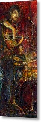 Jazz Bass Guitarist Metal Print by Yuriy  Shevchuk