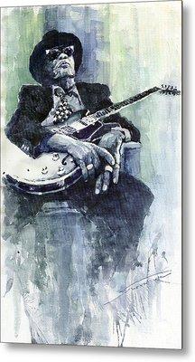Jazz Bluesman John Lee Hooker 04 Metal Print by Yuriy  Shevchuk