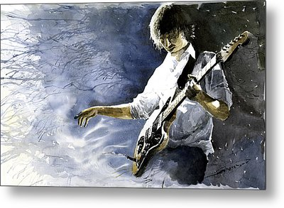 Jazz Guitarist Last Accord Metal Print by Yuriy  Shevchuk