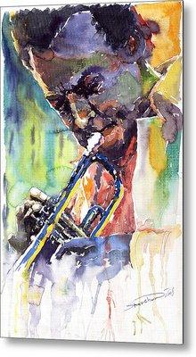 Jazz Miles Davis 9 Blue Metal Print by Yuriy  Shevchuk