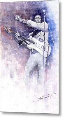 Jazz Rock Jimi Hendrix 07 Metal Print by Yuriy  Shevchuk