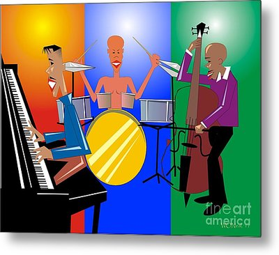 Jazz Trio Metal Print by Walter Oliver Neal