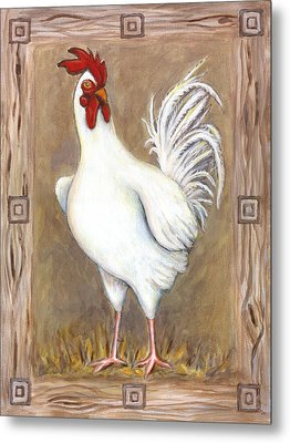 Jed The Rooster Metal Print by Linda Mears