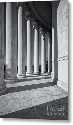 Jefferson Memorial Columns And Shadows Metal Print by Clarence Holmes