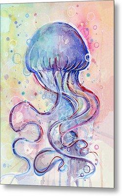 Jelly Fish Watercolor Metal Print by Olga Shvartsur