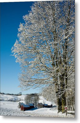 Jenne Farm Winter In Vermont Metal Print by Edward Fielding