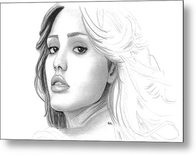 Jessica Alba Metal Print by Gil Fong