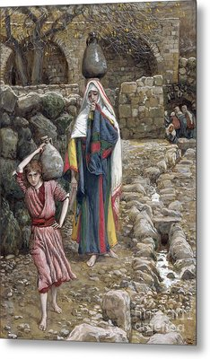 Jesus And His Mother At The Fountain Metal Print by Tissot