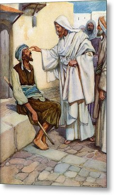 Jesus And The Blind Man Metal Print by Arthur A Dixon