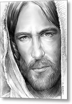 Jesus Face Metal Print by Greg Joens