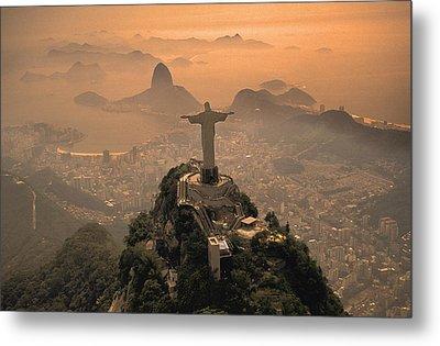 Jesus In Rio Metal Print by Christian Heeb