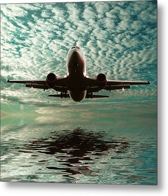 Jet Square Metal Print by Sharon Lisa Clarke