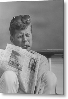 Jfk Relaxing Outside Metal Print by War Is Hell Store