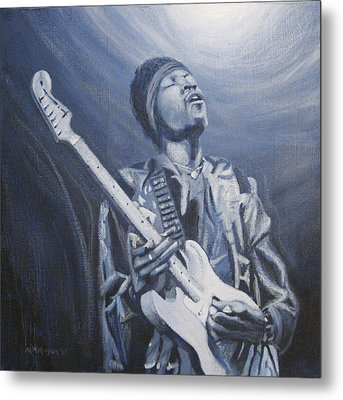 Jimi In The Bluelight Metal Print by Michael Morgan