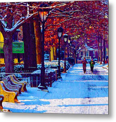 Jogging In The Snow Along Boathouse Row Metal Print by Bill Cannon
