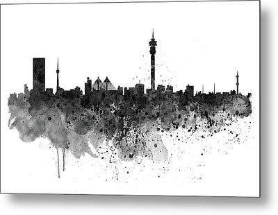 Johannesburg Black And White Skyline Metal Print by Marian Voicu