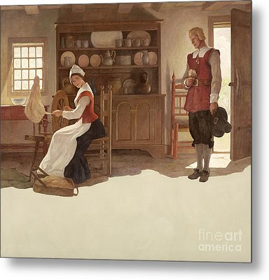 John Alden And Priscilla Metal Print by Newell Convers Wyeth