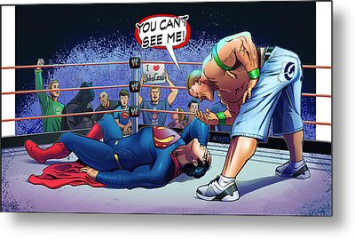 John Cena Vs Superman Metal Print by Khaled Alsabouni