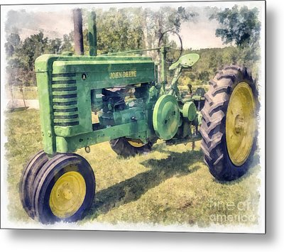 John Deere Vintage Tractor Watercolor Metal Print by Edward Fielding