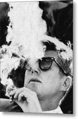 John F Kennedy Cigar And Sunglasses Black And White Metal Print by Tony Rubino
