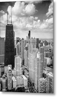John Hancock Building In The Gold Coast Black And White Metal Print by Adam Romanowicz