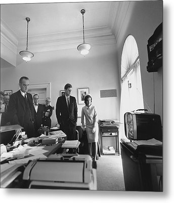 John Kennedy And Others Watching Metal Print by Everett