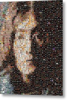 John Lennon Beatles Albums Mosaic Metal Print by Paul Van Scott