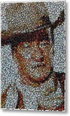 John Wayne Bottle Cap Mosaic Metal Print by Paul Van Scott