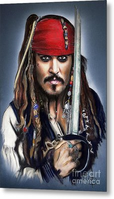 Johnny Depp As Jack Sparrow Metal Print by Melanie D