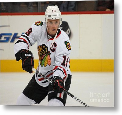 Jonathan Toews - Action Shot Metal Print by Melissa Goodrich