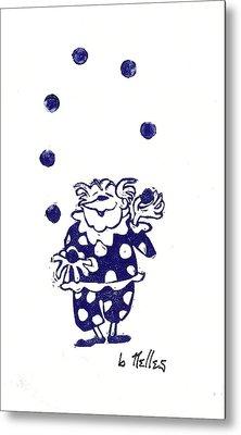Juggling Clown Metal Print by Barry Nelles Art
