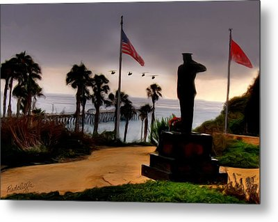 July 4th San Clemente Flyover Metal Print by Barbara Radcliffe