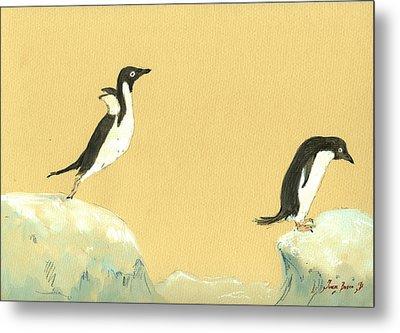 Jumping Penguins Metal Print by Juan  Bosco