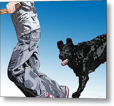 Just Throw The Stick Metal Print by Cathy  Beharriell
