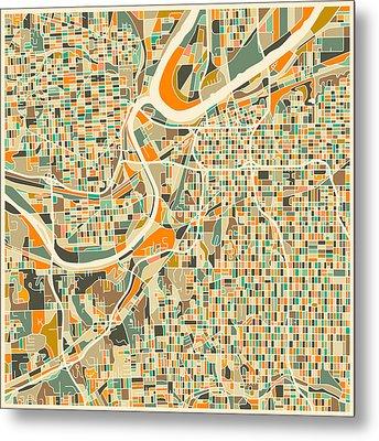 Kansas City Map Metal Print by Jazzberry Blue