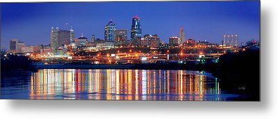 Kansas City Missouri Skyline At Night Metal Print by Jon Holiday