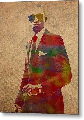 Kanye West Watercolor Portrait Metal Print by Design Turnpike