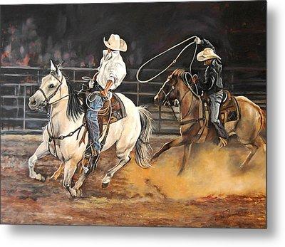 Kat's Cowboys Metal Print by Leisa Temple