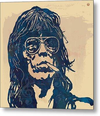 Keith Richards Pop Stylised Art Sketch Poster Metal Print by Kim Wang