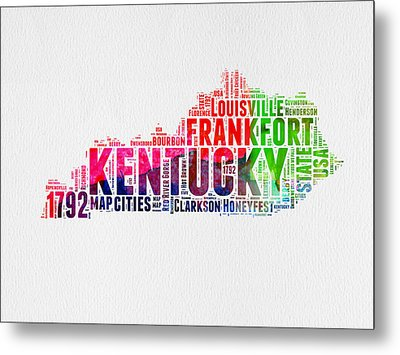 Kentucky Watercolor Word Cloud Map Metal Print by Naxart Studio