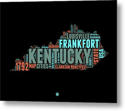 Kentucky Word Cloud Map 1 Metal Print by Naxart Studio