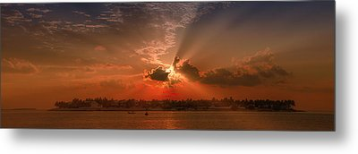 Key West Sunset Panoramic Metal Print by Melanie Viola