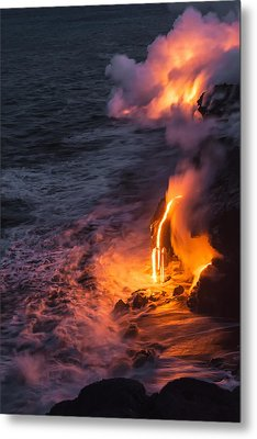 Kilauea Volcano Lava Flow Sea Entry 6 - The Big Island Hawaii Metal Print by Brian Harig