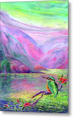 Kingfisher, Shimmering Streams Metal Print by Jane Small