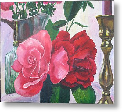Kissing Roses Metal Print by Judy Loper