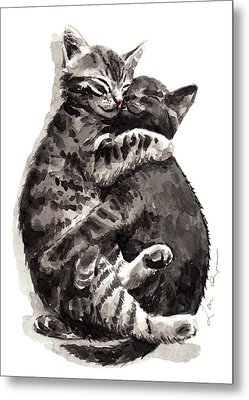 Kitty Hugs Metal Print by Laura Row