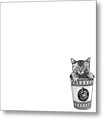 Kitty In A Coffee Cup Metal Print by Karl Addison